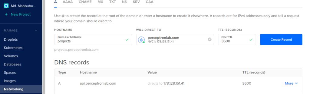 Creating sub domain from DigitalOcean Account