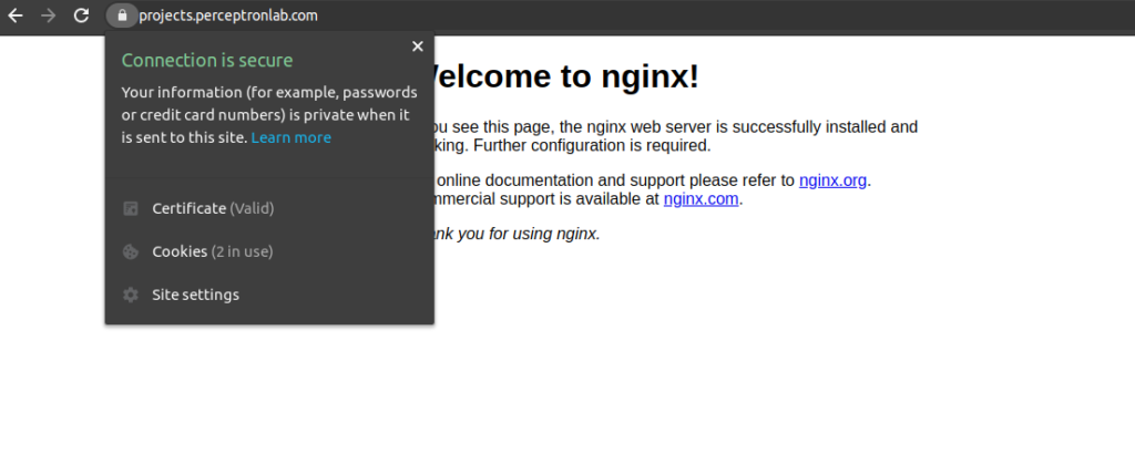 Nginx Default Page with SSL